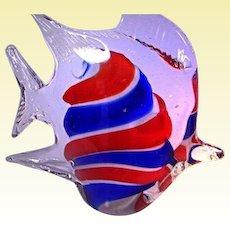 Italian Art Glass - Murano Red & Blue Fish Paperweights