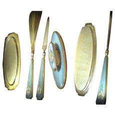 Thomae Sterling Guilloche Enamel Manicure Set