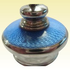 Sterling Silver Guilloche Perfume Atomizer Crystal Bottle from England - D2