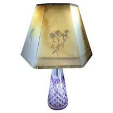 Amethyst Intaglio Crystal Lamp - 1800's