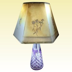 French / Bohemian Amethyst Intaglio Crystal Lamp - 1800's