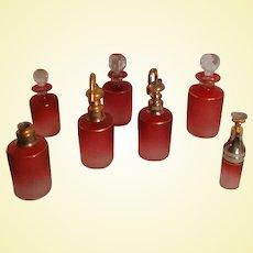 BLACK FRIDAY Bonanza - Saint-Louis Art Glass - 12-pc Cranberry Cameo Perfume Set (A2)