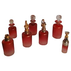 Antique French Saint Louis Art Glass - Cranberry Perfume Bottle Set
