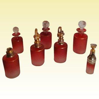 Antique French Saint Louis Art Glass - Cranberry Perfume Bottle Set