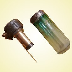 BLACK FRIDAY Bonanza  - Moser Art Glass - Green Acid-Etched Perfume Atomizer (A1)