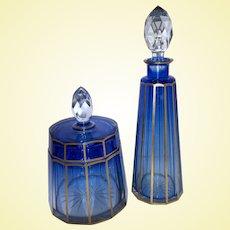 Baccarat / Moser Art Glass - Vintage Cobalt to Clear Faceted Gilt Vanity Combo