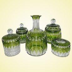 Val Saint-Lambert Art Glass - Stunning Zermatt Green Cut /  Joseph Simon Vanity Dresser Set (A1)