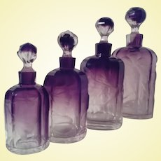 MOSER Karlsbad - Four Amethyst to Clear ROUND Intaglio Scent Bottles - Bohemian Gems! (A3)