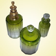 Exceptional Peridot GREEN 6-pc Crystal Vanity Set Fading to Clear