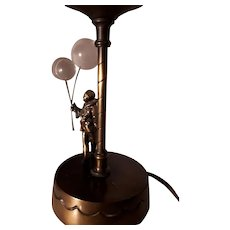 FRENCH BRONZE - 19th Century Table Lamp Featuring Pierrot & Crystal Balloons