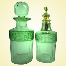French Art Glass - Baccarat - Cameo EMPIRE Vanity Perfume Bottles - Emerald Green Overlay Frieze Pattern (A1)