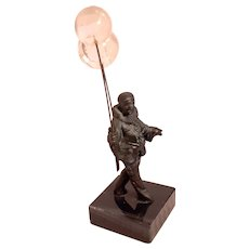 FRENCH BRONZE - Commedia dell'Arte Pierrot with Two Crystal Balloons