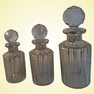 Baccarat Art Glass - Cannelures - Gilt Scent Bottles