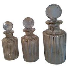 Baccarat Art Glass - Cannelures - Gilt Scent Bottles