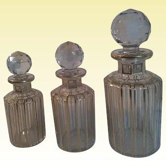 Baccarat Art Glass - Cannelures - Antique Gilt Scent Bottles