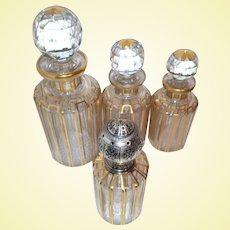 "Baccarat Art Glass - ""CANNELURES"" Design - Superb Perfume Decanters & Lampe Berger Set"
