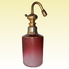 St-Louis Art Glass - ONE Acid-Etched Cranberry Perfume Atomizer