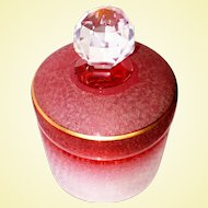 Saint-Louis, French Art Glass - ONE Cameo Cranberry Vanity Jar with Lid