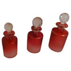 ART GLASS - St-Louis, CRANBERRY Acid-Etched Scent Bottles