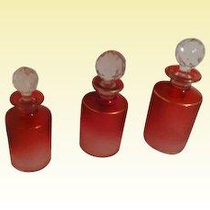 TRIO of Antique St-Louis CRANBERRY Acid-Etched Crystal Vanity Scent Bottles