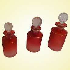 TRIO of St-Louis CRANBERRY Acid-Etched Crystal Vanity Scent Bottles