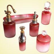 Saint-Louis Art Glass - ONE Cameo Cranberry Piston Pump ATOMIZER