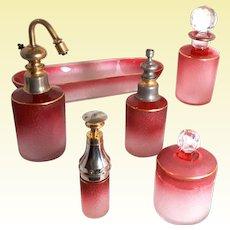 Antique Saint-Louis Art Glass - ONE Cameo Cranberry Piston Pump ATOMIZER