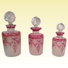 TRIO of Antique Val Saint-Lambert CRANBERRY Acid-Etched  Scent Bottles