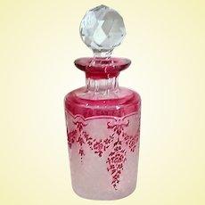 Black Friday Bonanza - GLASS - Val Saint-Lambert Cranberry Cameo Perfume Bottle (A7)
