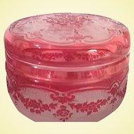 Val Saint-Lambert Cranberry Cameo Powder Jar with Lid