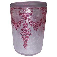 BLACK FRIDAY - Exceptional Val Saint Lambert Cranberry Acid-Etched Crystal by Léon Ledru - Glass TUMBLER