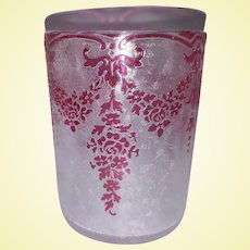 BLACK FRIDAY - Exceptional Val Saint Lambert Cranberry Acid-Etched Crystal by Léon Ledru - Glass TUMBLER