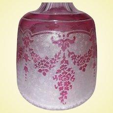 "BLACK FRIDAY - Exceptional Val Saint Lambert Cranberry Acid-Etched Crystal by Léon Ledru - ""Tumble-Up"" Carafe"