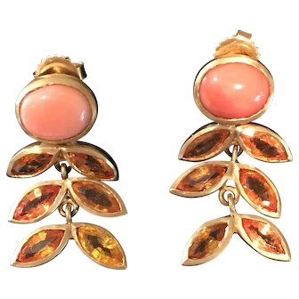 Leaf Motif-Three Drop Earrings with Orange Sapphire and gold