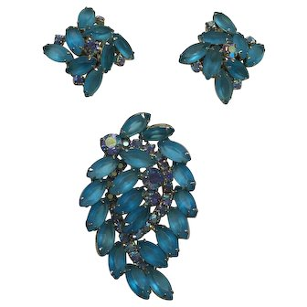 Turquoise, Rhinestone Broach and Earring Set