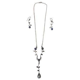 Moonstone & Sterling Leaf Motif Necklace & Earring Set