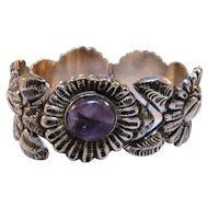 Silver bracelet, ornate floral design, Mexico, .925, vintage