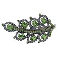 Vintage Kramer signed leaf style brooch, green and blue crystals