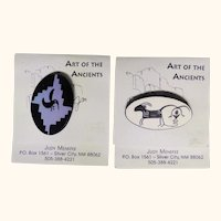 Two Art of the Ancients hand made Native American style brooches from New Mexico
