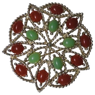 Sarah Coventry Acapulco brooch, faux Carnelian and Jade, excellent condition