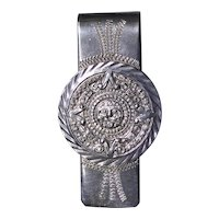 Sterling silver money clip from Mexico with Aztec calendar design, excellent vintage condition