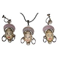 Vintage pendant earring set, Siam style ladies fashion jewelry made by SELRO