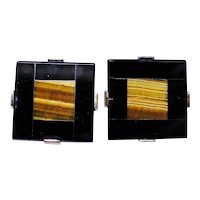 Vintage classy gold plated cufflinks with Tiger Eye and Black Onyx inlay with box
