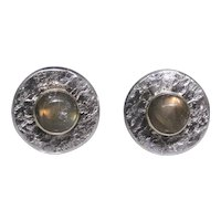 Vintage Artisan cufflinks, totally unique, sterling silver and 14kt gold