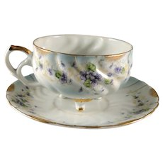 Unusual vintage Lefton Heirloom Violet cup and saucer set, excellent condition