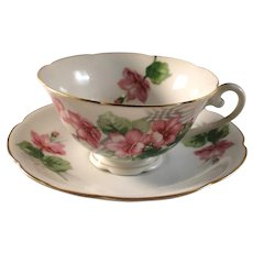 Cup and saucer set, Diamond made in occupied Japan, pink floral pattern, excellent estate condition
