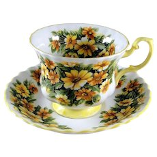 Royal Albert Marguerite style, yellow floral pattern cup and saucer, excellent condition