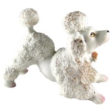 Playful spaghetti style ceramic poodle figurine, Japan, circa 1950s, excellent condition