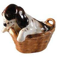 Vintage Royal Doulton Spaniel puppy in basket excellent estate condition