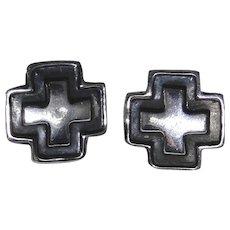 Vintage sterling silver cross earrings with black enamel